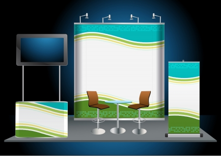 fair trade: Vector Blank trade exhibition stand with widescreen lcd monitor, counter, chair, roll-up banner and lights with identity background ready for use