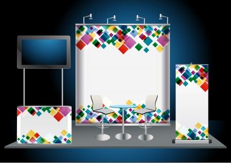 Blank stand espositivo commerciale con widescreen lcd monitor, banco, sedia, roll-up banner e luci con sfondo identità pronto per l'uso Vettoriali