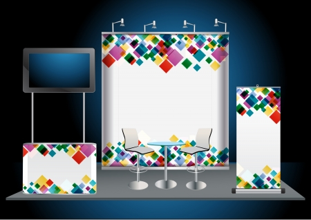 fair trade: Blank trade exhibition stand with widescreen lcd monitor, counter, chair, roll-up banner and lights with identity background ready for use