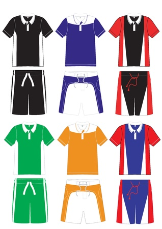 Men t-shirt polo sports series. soccer team uniform and shorts  Vector