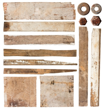 distressed wood: Set of wood plank isolated on white background (Save Paths For design work)