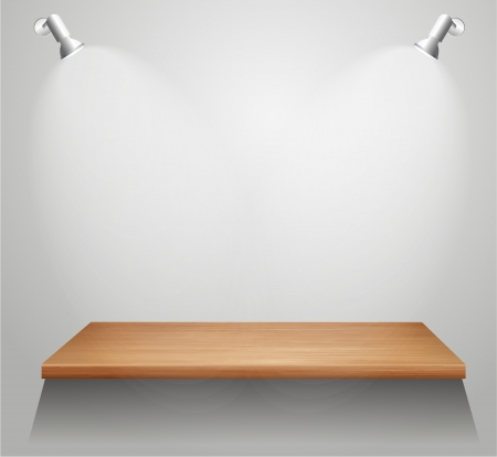 3d isolated Empty shelf for exhibit. Vector