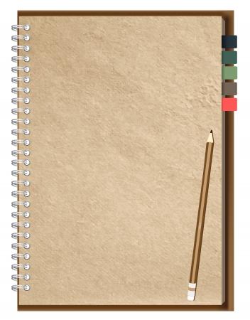 book binding: Old Brown Notebook Illustration