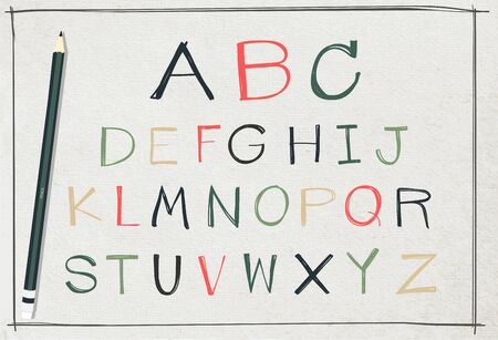 imitations: Vector alphabet handwriting on old paper texture