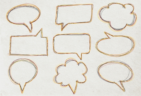 chatter: Vector Speech bubble collection, on old Paper texture background  Illustration
