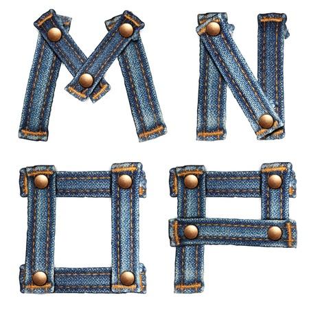 brief van jeans alfabet op een witte achtergrond