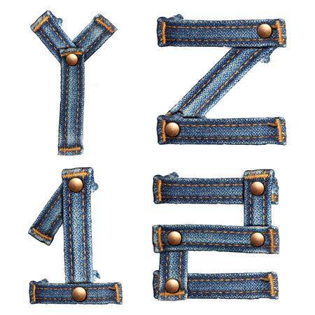 fibres: letter of jeans alphabet on white background  Stock Photo