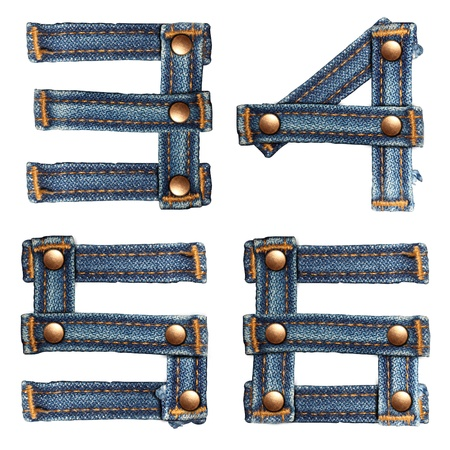 letter number of jeans alphabet on white background  photo
