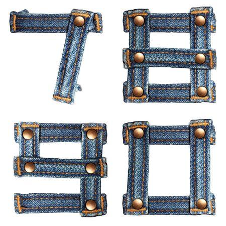brief aantal jeans alfabet op een witte achtergrond