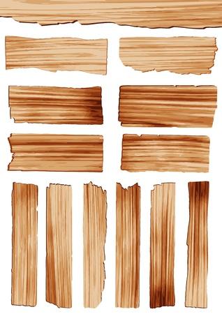 Tablón de madera de vector aislados sobre fondo blanco