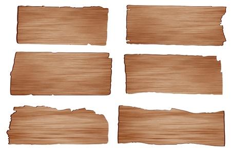 Tavola di legno Vector isolato su sfondo bianco Vettoriali