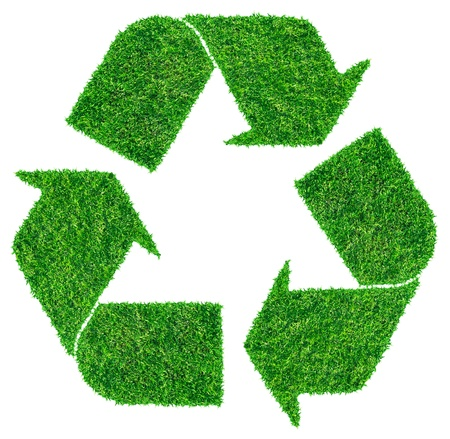 recycle icon:  Recycle symbol from grass  isolated on white