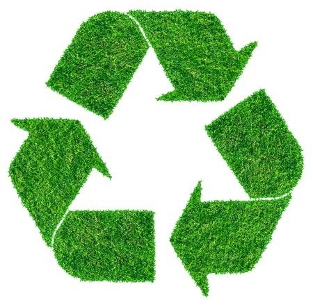 recycler: Symbole de recyclage de l'herbe isol� sur blanc