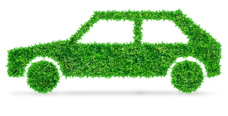 Eco transport concept grass covered car icon  Save Paths   photo