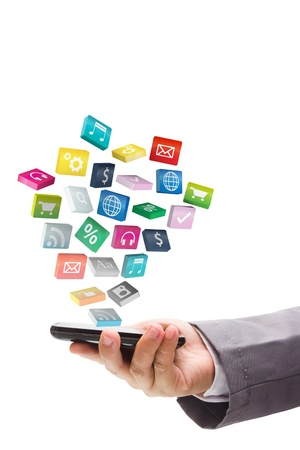 mobile office:  Business hand use mobile phone with colorful application icons, isolated on white background  Save Paths For design work   Stock Photo