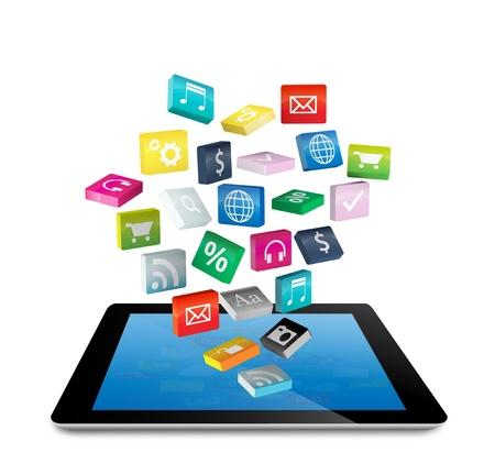 Tablet PC avec des nuages ??d'icônes d'application colorés, isolé sur fond blanc Enregistrer Chemins Pour les travaux de conception Banque d'images