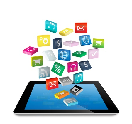 pc:  Tablet PC with cloud of colorful application icons, isolated on white background  Save Paths For design work   Stock Photo