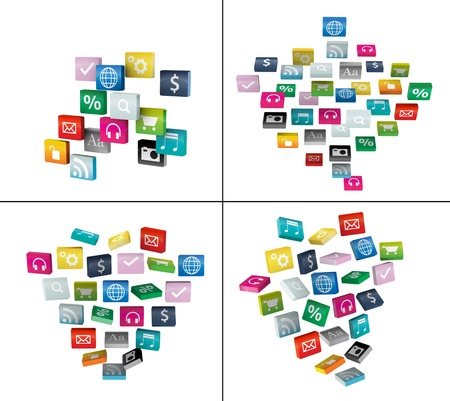 Software concept  cloud of program icons, isolated on white background  Save Paths For design work   Stock Photo - 14555879