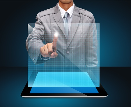 business man hand point to virtual business network process diagram Stock Photo - 14592120