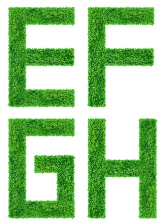 Green Grass Letter isolated  Save Path for design  Stock Photo - 14609369