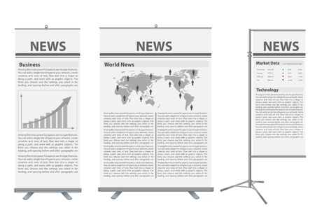 roll up banner stand, with news identity background ready for use   Stock Vector - 14656192