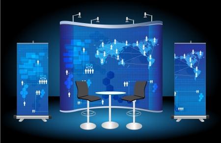 leere Messestand, mit Roll-up Banner und virtuelle Business-Netzwerk Prozessdiagramm Identität Hintergrund bereit für den Einsatz