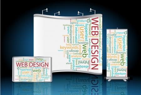 blank trade show, con roll up banner e web design sfondo wordcloud identità pronto per l'uso