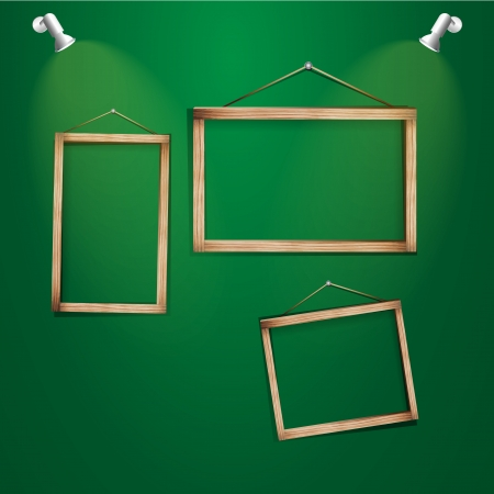 Wood frames on the green wall  Vector