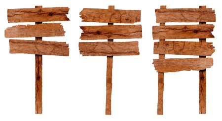 panel ling: Collection of wooden sign and signboard, isolated on white background  Save Paths For design work