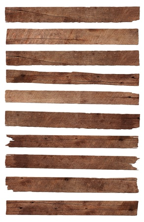 Old Wood plank, isolated on white background  Save Paths For design work   Stock Photo - 14684346