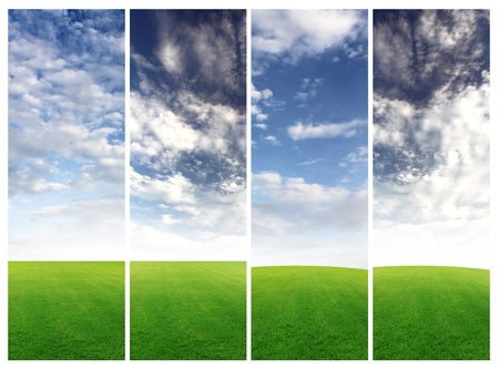 image size: Collection Vertical field of grass and blue sky banners Image size 3000 1000 pixels