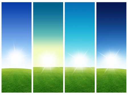 Collection Vertical field of grass and blue sky banners Image size 3000 1000 pixels   photo
