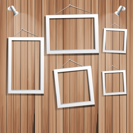 art gallery interior: white frames on wooden wall  vector illustration   Illustration