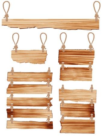 wooden post: Cartel de madera con cuerda colgando ilustraci�n vectorial