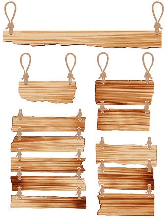 pancarte bois: Signe en bois avec corde qui pend illustration vectorielle Illustration