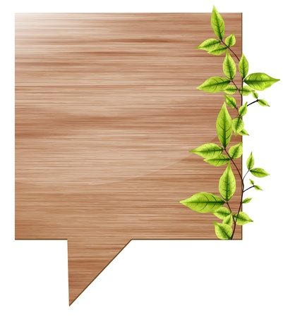 speak bubble: vector wooden board speech bubbles with eco green leaves  Illustration