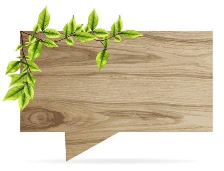 vector wooden board speech bubbles with eco green leaves  Vector