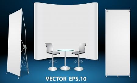 Vector rotolo vuoto up display banner, con stand fiera