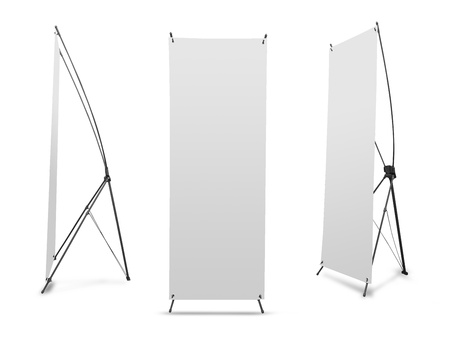 banner stand: Blank banner X-Stands tree displays for design work