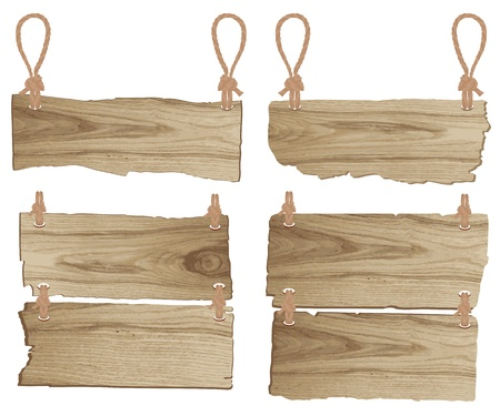 wood panel:  Wooden sign with rope hanging  vector illustration