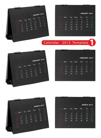 Desktop calendar 2013 isolated on white background   january, february, march   photo