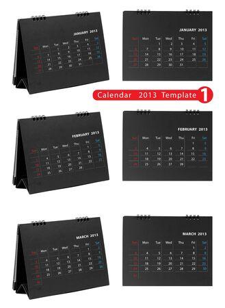 Desktop calendar 2013 isolated on white background   january, february, march Stock Photo - 14808061