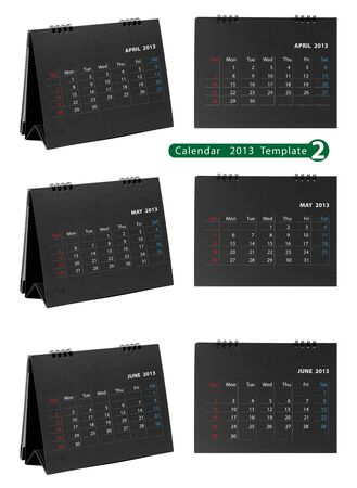 Desktop calendar 2013 isolated on white background   april, may, june Stock Photo - 14808102