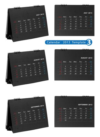 Desktop calendar 2013 isolated on white background   july, august, september Stock Photo - 14808062