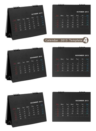 Desktop calendar 2013 isolated on white background   october, november, december   photo