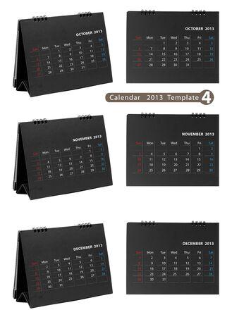 Desktop calendar 2013 isolated on white background   october, november, december Stock Photo - 14808103