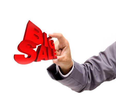 hot deal: Big sale 3d in hand isolated on white background  Stock Photo