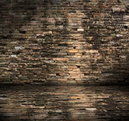 brickwall: old dirty interior with brick wall, vintage background