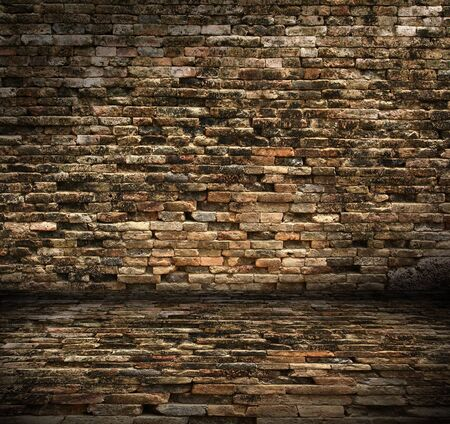 old interior with brick wall  photo