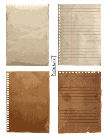 set: Vintage paper designs (paper sheets, lined paper and note paper)  Stock Vector - 14867794
